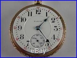 Antique 18s Elgin Veritas hi-grade 23j Rail Road pocket watch 1900. Lovely case