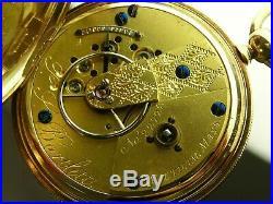 Antique 18s Waltham 1857 model key wind pocket watch. 14 k solid gold case. 1859