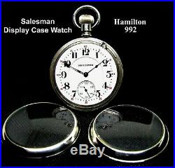 Antique 21 Jewel Salesman Display Case RR Pocket Watch Hamilton 992-L Working