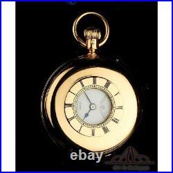 Antique Allamand 18K Gold Demi Hunter Watch. Original Case. England, 1926