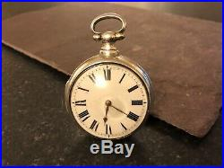 Antique C1826 Pair Case Verge Fusee London Solid Silver Pocket Watch J. Cetti &co