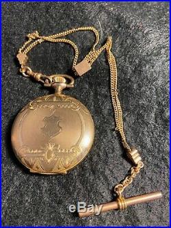 Antique Elgin Hunt Case Pocket Watch Egraved Case Crisp