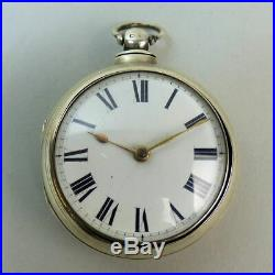 Antique English Silver Pair Case Fusee Movement Pocket Watch London 1869 G. W. O