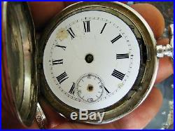 Antique Etched Sterling Silver POCKET WATCH Hunter Case Remontoir Size 13 Repair