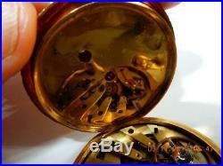Antique French Paris Enamel Juillard Pocket Watch 18k Gold 1870 Pristine case