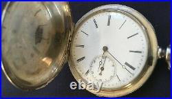 Antique HUGUENIN & CO Coin Silver Hunter's case pocket watch with key & chain Runs