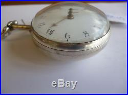 Antique J Richards of London Sterling Silver pair case fusee pocket watch c. 1788