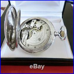 Antique Longines Swiss Pocket watch 1900s silver 0.900 case Full Hunter-style