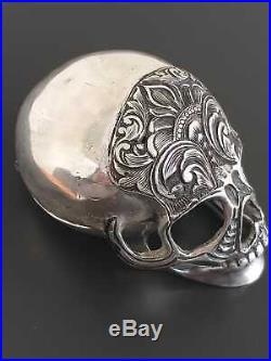 Antique Memento Mori Skull Verge Fusee Pocket Watch Silver Case