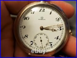 Antique Omega Bienne Geneve 18 Ligne Case Gold Plated 0.800 Silver Pocket Watch