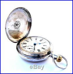Antique Pocket Watch Swiss LONGINES Hunter Case Solid Silver 1889c Working 50mm