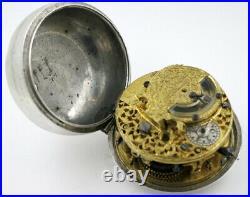 Antique Pocket Watch silver cases, verge, mock pendulum, London, c1685