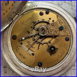 Antique Post Civil War Illinois Keystone Coin Silver Case Pocket Watch Rare