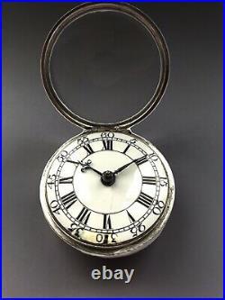 Antique Silver 18th Century Georgian Verge Fusee Pair Cased Pocket Watch