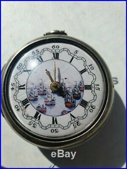 Antique Silver English Verge Pair Case Pocket Watch