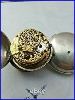 Antique Silver English Verge Pair Case Pocket Watch circa 1755