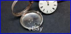 Antique Solid Silver Gentleman's Verge Fusee Pair Case Pocket Watch