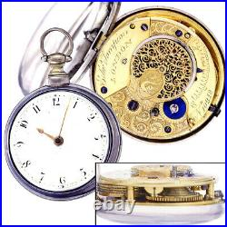 Antique Sterling Silver Pair Case Verge Fusee Pocket Watch CA 1810s