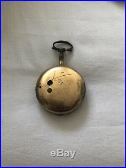 Antique Tortoiseshell+guilt Fusee Pocket Watch Pair Case Jj Cohen Manchester