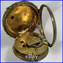Antique Verge Fusee Brass Cased Pocket Watch F Norman London Not Working
