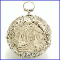Antique Verge Fusee Silver Repousse Pair Case William Graham Pocket Watch Ca1730