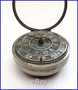Antique Verge Fusee champleve dial Silver Pair Cased Pocket Watch -Working