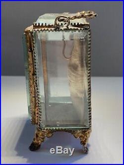 Antique Victorian Pocket Watch Holder Display Case Beveled Glass Box Grand Tour