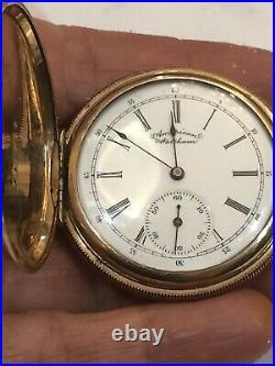 Antique Waltham 14K Gold Monarch Case Sidewinder Hunting Pocket Watch