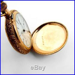 Antique Waltham Hunter Pocket Watch 14K Gold Filled Case 1886