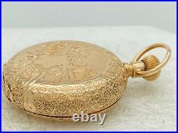 Antique Waltham Pocket Watch 1890 14k Hunter Case 6s 11j L Stag Decorative Dial