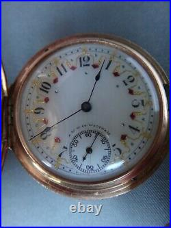 Antique Waltham Pocket Watch Tri Color 14k Gold Case Fancy Ruby & Emerald Dial