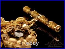 Antique and very rare solid gold pocket watch chain. Original case. 19th Century