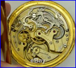 Antique gold plated case Quillet one button chronograph pocket watch c 1900's