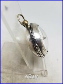 Antique silver pair cased fusee verge T. Washbourne pocket watch c1750 ref1008