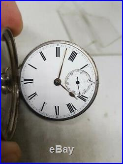 Antique solid silver pair cased fusee Chester pocket watch 1884 working ref877