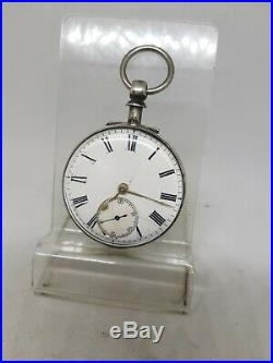 Antique solid silver pair cased fusee London pocket watch 1863 working ref876