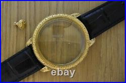 Brass case for pocket watch movement Vacheron Constan 23K gold plated with crown