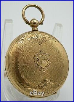 C. 1890 H. Montandon 14k Double Hunter's Case Swiss Locle Pocket Watch & Key