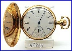 C. 1911 14k Solid Gold Elgin Hunter Case Pocket Watch 16 Size 85.87 Grams