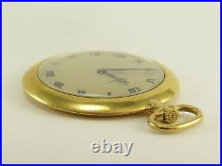 Cartier Art Deco 18k Gold Pocket Watch with EW&C Co. Movement & Case Ultra Slim