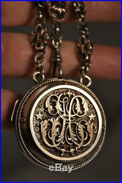 Chatelaine Ancien Or Argent Massif Antique Pocket Watch Case Froment-meurice