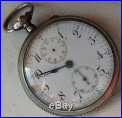Chronograph Pocket Watch open face silver case enamel dial balance Ok