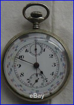 Chronograph Pocket watch open face nickel chromiun case 50 mm. In diameter