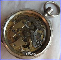 Chronograph Rare Pocket Watch open face silver case & movement