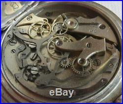 Chronograph pocket watch open face silver case work need service