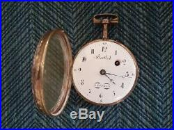 Circa 1800 FUSEE Pocket Watch w Jeweled and Enamel Case Signed Berthod A Geneve