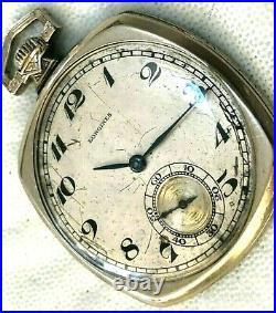 Circa 1925longines17 Jewelwhite Gold Rare Cushion Case Pocket Watch
