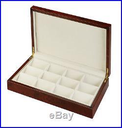 Diplomat 12 Pocket Watch Case Burl Storage Display with Cream Interior 31-51814