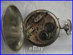 Double Date Pocket Watch open face nickel chromiun case enamel dial excellent