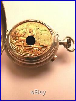 EROTIC POCKET WATCH QUARTER REPEATER DIAMETER 54mm. SILVER CASE(check link video)